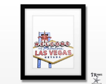 Las Vegas Cityscape Art Print - Original Artwork - Prints Available in Multiple Size Options