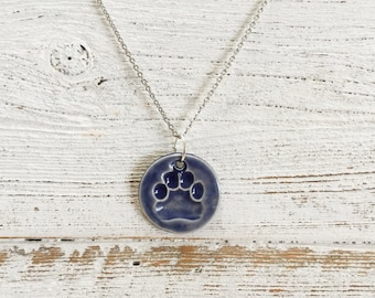 Ceramic Paw Print Pendant, Denim, Unique Gift, Dog Mom, Gift for Her, Pets, Ceramics, Pet Jewelry, Ceramic Jewelry