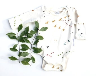Organic baby one piece baby bodysuit Birds in flight long sleeve