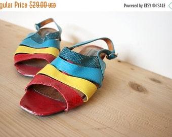 ON SALE Vintage Colorblock Faux Reptile Leather Slingback Low Heel Sandals