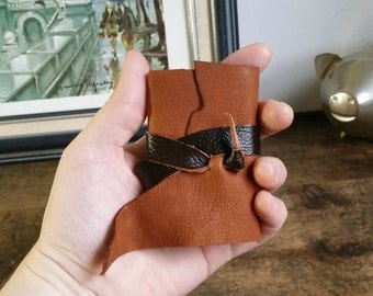 Mini Leather Journal, Brown, Hand-Bound 2 x 3 Journal by The Orange Windmill 1663