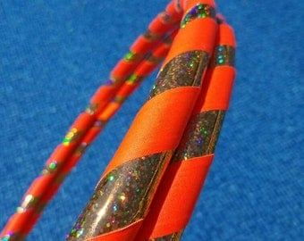 Gold & UV neon orange // Collapsible Hula Hoop // Custom // Made to Order // Great Gift // Fitness // Exercise // Workout // Dance
