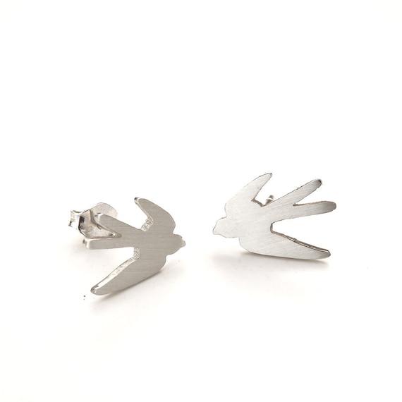 Flying Swallow Studs Silver Bird Earrings - Sterling Silver (925)