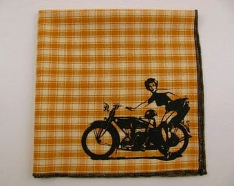 Hankie-BIKER Pinup girl shown on super soft BUTTERSCOTCH plaid cotton Hanky-or choose from white or any solid colors or plaids shown in pics