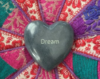 Dream Marble Heart, altar decor, paper weight, stone heart, Valentines Day gift, love stone