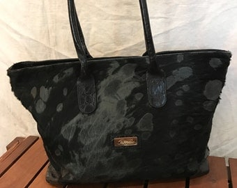 Distressed Authentic Vintage Terrida Black Leather and Calf Hair Satchel Shoulder Shopping Bag