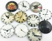 10pcs Mixed 25mm Round Handmade Photo Glass Cabochon - Clock