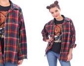 Vintage 90s PLAID WOOL Shirt  Tartan Red Blue Green Thick Checkered Overshirt Lumberjac. Unisex Men Woman Boyfriend Shirt  Large XL
