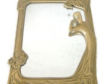 ON SALE Vintage Art Nouveau Brass Table Mirror Woodland Style