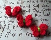 Red Crochet Butterfly Appliques. Crochet Butterflies. Set of 10.