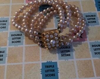 Vintage 4-Strand Gold Tone Faux Pearl Bracelet