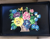 Vintage Black Metal Serving Tray Paint By Number Flowers In Basket And Butterfly Design 1950 Wall Decor Hanging