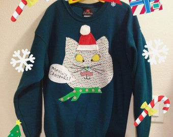 Last minute SALE Handmade ugly mustache cat Christmas sweater