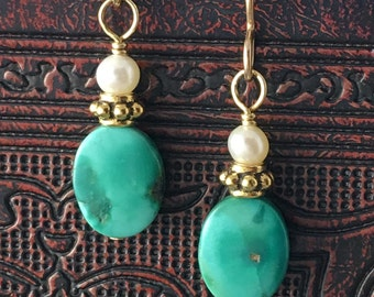 Artisan earring #9...Turquoise and pearl