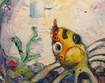 "Woohoo Weekend Sale Bathrrom art Goldfish// square painting//GiuseppeFish - Original fish painting  oil on canvas 12""x12"""