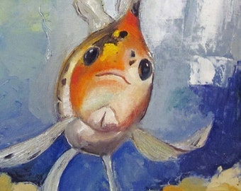 "Woohoo Weekend Sale Goldfish Art Original oil painting on canvas WinstonFish 12""x12"""