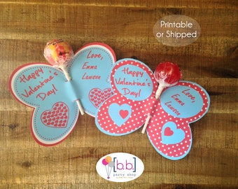 Butterfly Lollipop Personalized Valentine's Day Cards (Red & Blue)- Printable or Shipped