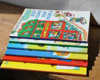 Set of 6 Richard Scarry Best Little Books - 1970s - Busy Town - things To Learn - Storytime - ABCs - Mr. Fix It Stories -Fun Size Books