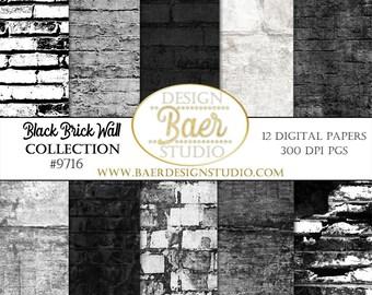 DIGITAL PAPER SALE:Black Brick Digital Paper, Smash Book Art, Art Journal Digital Paper, Grunge Brick Wall Digital Paper, #9716