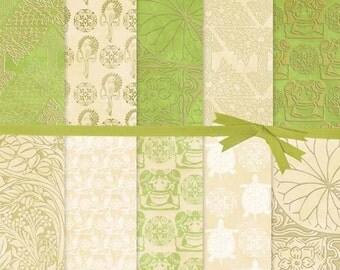 DIGITAL PAPER SALE:Ivory and Gold Digital Paper, Green and Gold Digital Paper, Animal Silhouette Digital Paper, Art Nouveau Paper, # 15031B