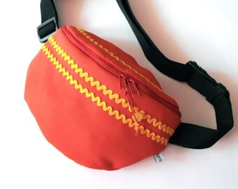 fanny pack/hip bag - red and yellow (medium size)