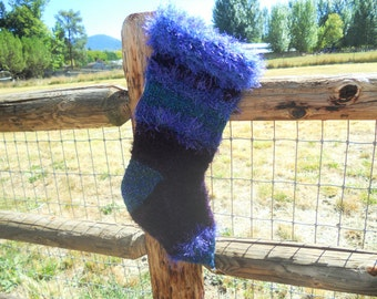 Deep Dark Purple Christmas Stocking Hand Knit