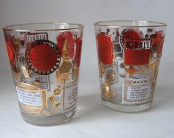 Vintage Bar Recipe Glasses