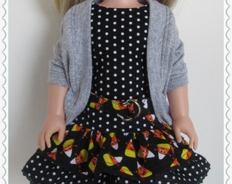Candy Corn and Polka-dotted Print Ruffled Dress and Gray Sweater for 14.5 Inch Dolls Fits WellieWishers™