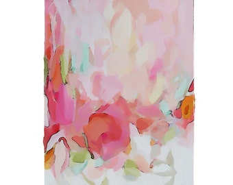 Large Original Abstract Art pretty vancouver artist melissa thorpe canadian office pink red painting