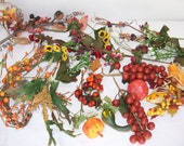 FLORAL CRAFT LOT Pips Gourds Pumpkin Clusters Miniature Roses Fall Pick Stem