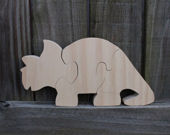 Large Triceratops Puzzle. Wooden Dino Puzzle. Dinosaur Toy