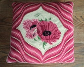 Retro Needlepoint Pillow in Light and Dark Pink Chevron Pattern with Petit Point Floral Design in the Middle in Vintage Condition