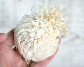Natural Wedding Flower Pin, Cream Ivory, Sola Wood, Lace, Babys Breath, Boutonniere, Groom, Groomsmen, Women's Corsage, Bridal Party Flower