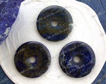 3 ~ 29/30mm Lapis Semi Precious Stone Donuts, Natural Undyed Blue Lapis with Pyrite Stone Donuts, Stone Pendants  SP-358-3