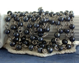 Hematite Glass Rosary Chain, Beaded Chain, Chain, Jewelry Chain, Glass Bead Chain CHN-221