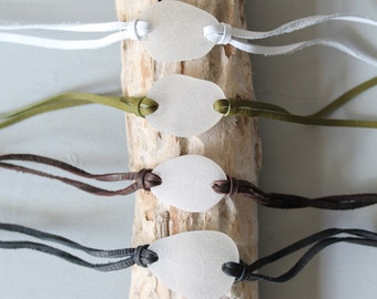 Sea Glass & Leather Wrap Bracelet or Necklace - White Seaglass