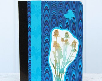Blue Marbled Mini Journal, Pocket Notebook with Summer Seed Pods and Butterflies , Altered Composition Book, Personal Diary, Nature Journal