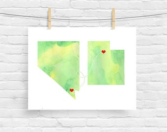 Bridal Shower Gift Two States Love - Watercolor Wedding Gift  - Personalized State Heart Natural Series - Custom Location Modern Art Print