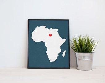Africa Continent Map Custom Personalized Heart Print Hometown Wall Art Gift Souvenir
