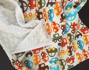 Organic Baby Blanket in Robert Kaufman Fabric by Ann Kelle Ready Set, Go Organic, Cars Boy Blanket READY TO SHIP!!