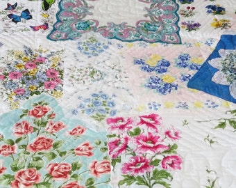 Heirloom Vintage King Size Hanky Quilt with Authentic 1930's Southern Belle Lady Blocks By Sweet Tooth Quilts and Grannies Hankies