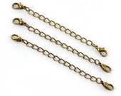 8 Bronze Extender Chains - Antique Bronze - Necklaces and Bracelets - 76mm Long - Ships IMMEDIATELY from California - FC153