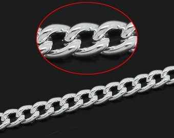 10M Oval Chains - Silver Plated - Link-Soldered - 2x1.5mm - 32' - Ships IMMEDIATELY from California - CH620