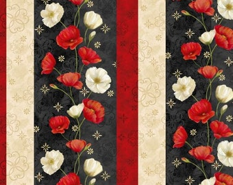 Wilmington Prints - Poppy Celebration - Poppy Repeating Stripe Multi
