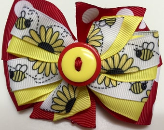 Red, Yellow, Polka Dot SUNFLOWER Bumble Bee SPRING Button Stacked Boutique Style Ribbon Handmade for PETS Dog Bow Collar Accessory