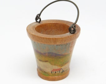 Vintage Toy Bucket, Irish Souvenir, Wooden, Hand Painted, Made in Ireland