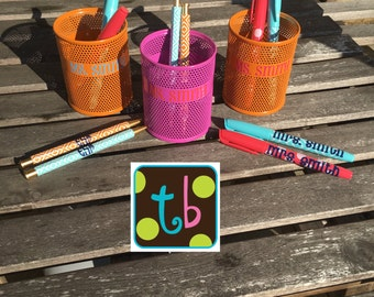 Personalized Monogram Teacher's Pencil Holder Pen or Dry Erase Marker Set