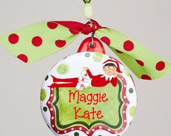 Boy or Girl Elf On the Shelf We Believe Personalized Ornament Glory Haus
