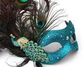 Women's Jewelled Luxury Peacock Feather Swarovski Masquerade Mask