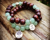 Yogi inspired wood bead meditation mala bracelet pair with green aventurine tree of life and peace love charms
